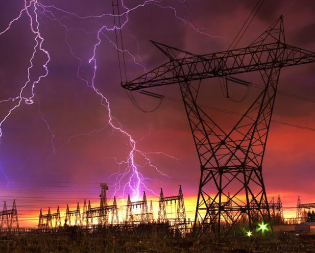 Power Shut Down Concept - Image of Lightning strikes the power distribution station.