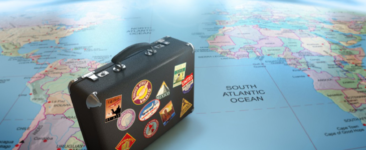 Image Showing A Luggage on the world map